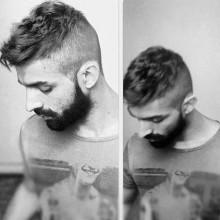 Mann mit kurzen, dünnen Haare undercut