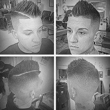beliebten faux hawk taper fade Haarschnitt für Männer