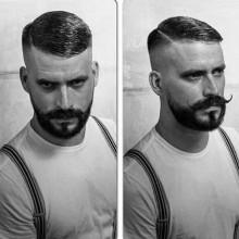 classic short fade Haarschnitt für Männer Kamm über