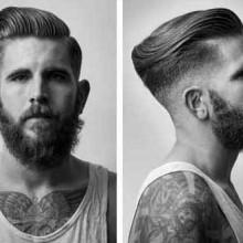 fade moderne Männer Frisuren gekämmt, der Blick zurück