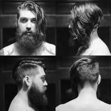 gerades Seitenteil männlichen Haarschnitt mit BART