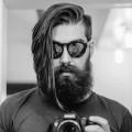 lange Länge Freistich gerade Haarschnitt mit BART für Männer