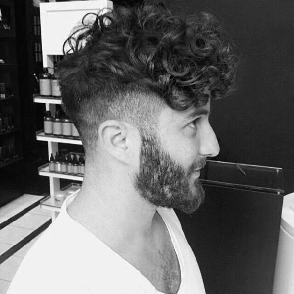 Lockigen Undercut Bart Haar Für Männer Kunstopde