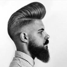 medium Frisuren für Männer mit welliges Haar pompadour