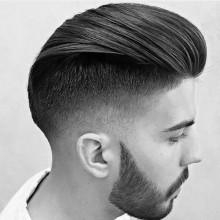 medium-Haar-Länge-Stile Männer slicked zurück undercut taper fade