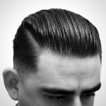 mens high-taper fade haircut slicked back