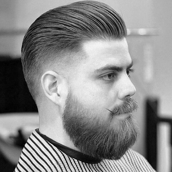 Mittellang Jungs Kegel Verblasst Frisuren Gekämmt Zurück