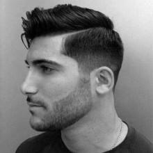 modernen Herren harte Teil Haarschnitt mit niedrigen fade
