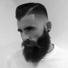 modernen dapper mens low fade Haarschnitt mit BART