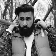 modischen dicken Mittel-undercut Frisuren für Herren mit Bärten
