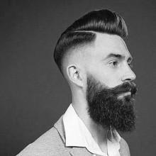 old-school-hard-part Frisur für Männer mit hoher fade