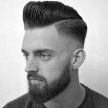 pompadour mit Haut-fade-Haarschnitt für Jungs