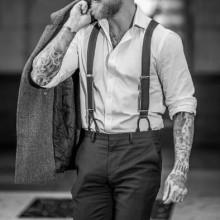 professionelle undercut mit BART Haar für Männer slicked back