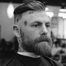 rasierte Seiten kurze Länge Herren slicked zurück Frisuren
