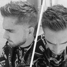 short Herren summte Seiten faux-hawk Haarschnitt