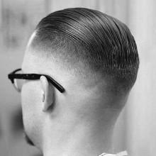 slicked back kurzer fade Herren Haarschnitt
