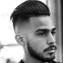 slicked back skin fade Haarschnitt für Männer