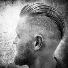 slicked zurück pompadour Herren Haut-fade-Haarschnitt medium