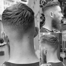 trendigen Herren kurze Frisur mit fade