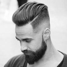 trendigen fashion-forward nach hinten gekämmt mens skin fade Frisuren