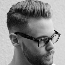 well groomed mens comb over hair cut