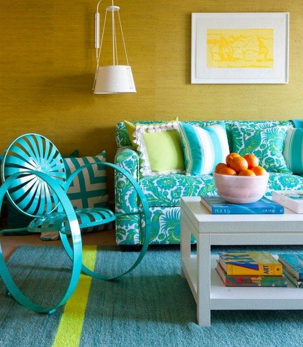 Blaugrün-und gelb-Wohnzimmer-Dekor teal sofa Stuhl Teppich ...