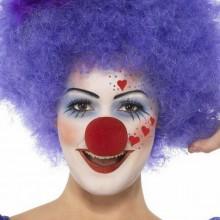 DIY-clown make-up-Ideen, Frau, rote Herzen, lila Perücke, rote Nase