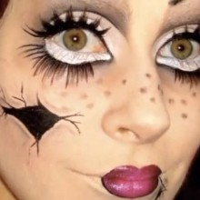 Einfaches Halloween make-up Ideen, DIY halloween broken doll make-up