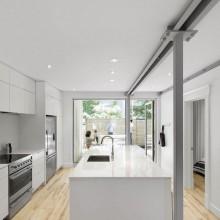 Erdgeschoss-Wohnung Renovierung 867 De Bougainville moderne Küche-weiß-Schränke-Holz-Fußboden