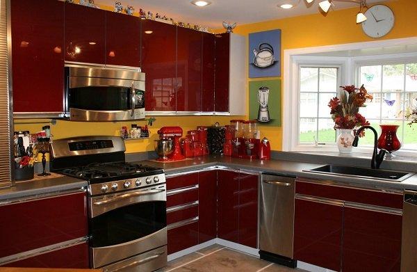 Grau Granit Arbeitsplatte Küche rote Küche-Kabinette, die gelbe ...