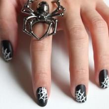 Halloween Acryl-Nägel Ideen schwarz weiß cobweb