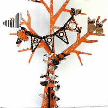 Halloween-Baum Deko-Ideen zu halloween-Papier Handwerk für Kinder, DIY-Deko-Ideen