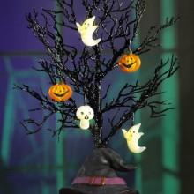 Halloween Baum Dekoration Ideen punpkins Geister halloween Ornamente