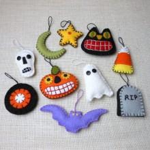 Halloween Baum Dekoration halloween fühlte Ornamente Geister, Kürbisse, selbstgemachte Deko-Ideen