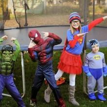 Halloween-Kostüm Ideen super heroes Hulk Superman Spiderman Batman