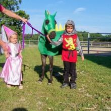 Halloween-Kostüme für Pferde und Kinder, Ritter, Prinzessin