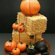Halloween-Kuchen-Dekoration nicht beängstigend Kuchen vlack cat pumpkins