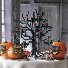 Halloween Tisch Dekoration hallloween-Baum schwarz-Baum Kürbisse