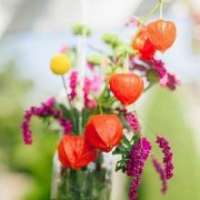 Herbst Deko-Ideen frischen Herbst-Blume arrangemen Glas-vase