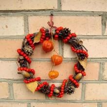 Herbst Deko-Ideen mit physalis DIY herbstkranz Beeren tannenzapfen