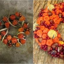 Herbst Deko-Ideen mit physalis DIY herbstkranz Ideen Kastanien, Beeren