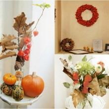 Herbst Deko-Ideen mit physalis-Kranz, Gesteck