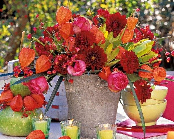 Herbst Dekor Blumen Arrangement Im Rustikalen Stil Tisch Dekor Tee