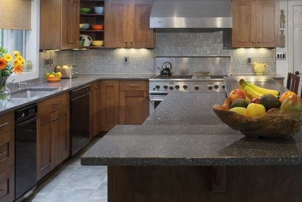 Küche design-moderne graue Granit-Arbeitsplatte-Holz-Schränke ...