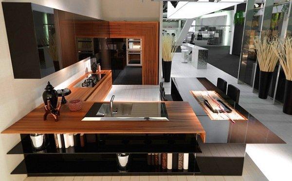 Vom Schweizer Taschenmesser Inspiriertes Design Freistehende Küche.  Modulare Küchensysteme Walnussholz Hocker