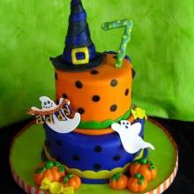 Nicht scary Halloween-Kuchen-Dekorationen mit Hut Kürbisse, Geister