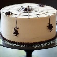 Non scary Halloween-Kuchen-Dekoration einfach Kuchen Dekorationen chocolate cobweb