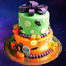 Non scary Halloween-Kuchen-Dekoration zwei geschichteten Kuchen Spinnen, schwarze Katze