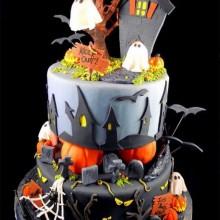 Non scary Halloween-Kuchen-Dekorationen cool-Kuchen-Ideen geisterhaften Stadt Dekoration