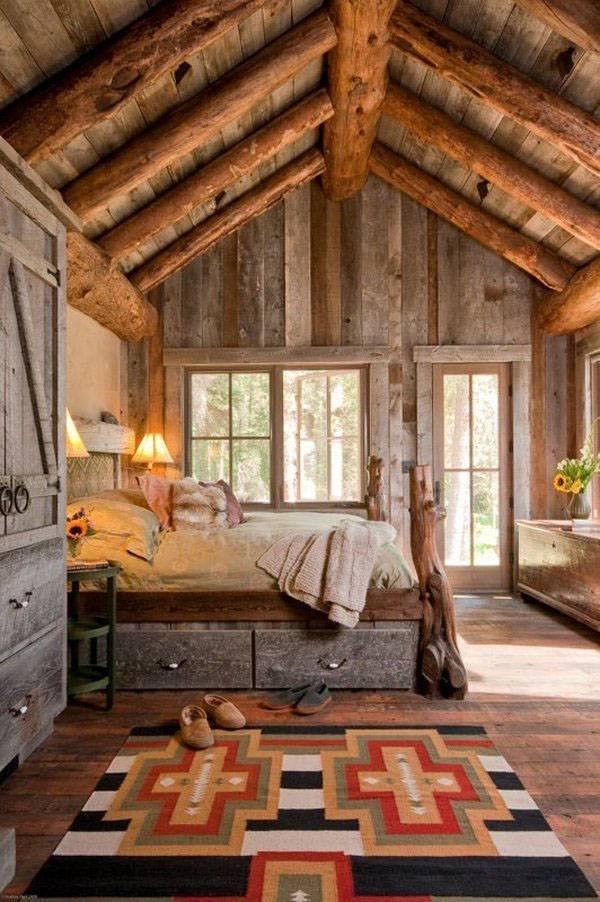 Schlafzimmer design mit rustikalen Holzbalken von hand gewebte ...